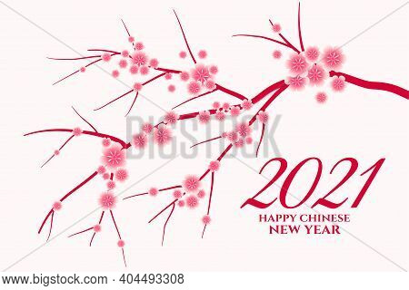 2021 Happy Chinese New Year Greeting With Sakura Flowers Vector