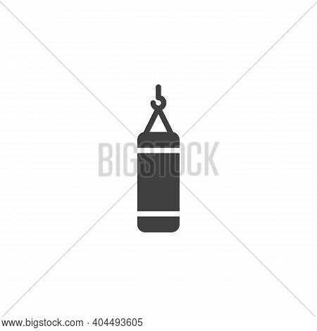 Punching Bag Vector Icon. Filled Flat Sign For Mobile Concept And Web Design. Boxing Punching Bag Gl
