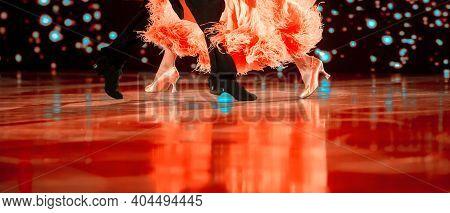 Man And Woman Dancer Latino International Dancing. Ballroom Dancing Is A Team Sport. Vintage Color F