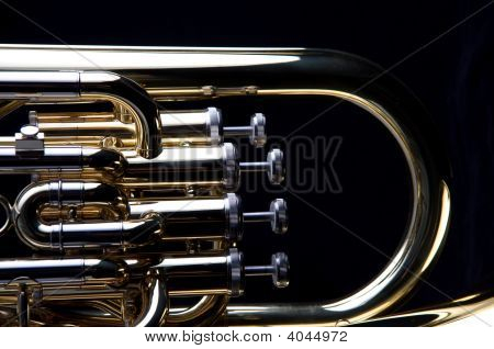 Gold Brass Tuba Euphonium Isolated On Black