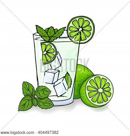 Glass Of Mojito, Ice Cubes, Mint Leaves, Lime Slice And Whole Lime. Hand Drawing Alcohol Cocktail. I