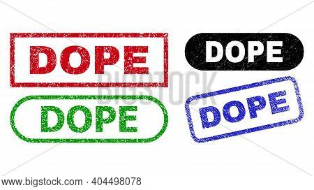 Dope Grunge Watermarks. Flat Vector Textured Stamps With Dope Title Inside Different Rectangle And R