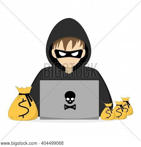 A Hacker Is Sitting At A Computer, Stealing Personal Data. Hacker Steals Bags Of Money.