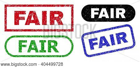 Fair Grunge Watermarks. Flat Vector Textured Seals With Fair Tag Inside Different Rectangle And Roun