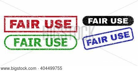 Fair Use Grunge Stamps. Flat Vector Grunge Seals With Fair Use Text Inside Different Rectangle And R