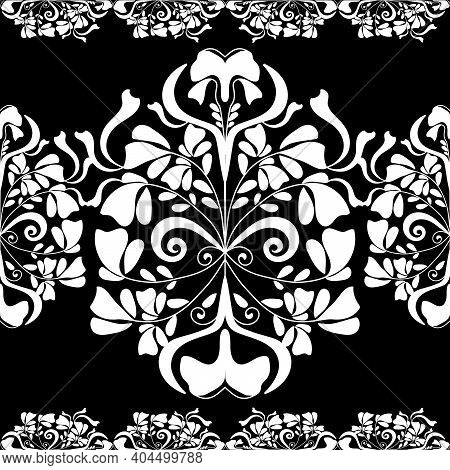 Embroidery White Lace Border, Flower Border. Black-white Lace Border. Vector.