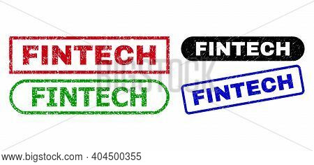 Fintech Grunge Seal Stamps. Flat Vector Grunge Seal Stamps With Fintech Tag Inside Different Rectang