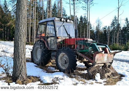 Old Tractor Adapted For Forestry Work In Beskydy Mountains, Frenstat Pod Radhostem, Czech Republic