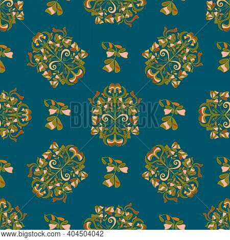 Seamless Floral Pattern For Design, Vector Illustration. Victorian Era, Beautiful Twisted Pattern. V