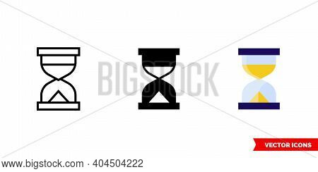 Hourglass Icon Of 3 Types Color, Black And White, Outline. Isolated Vector Sign Symbol.