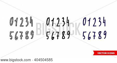 Numbers Written By Hand Icon Of 3 Types Color, Black And White, Outline. Isolated Vector Sign Symbol
