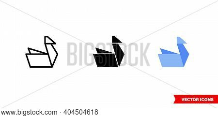 Origami Icon Of 3 Types Color, Black And White, Outline. Isolated Vector Sign Symbol.