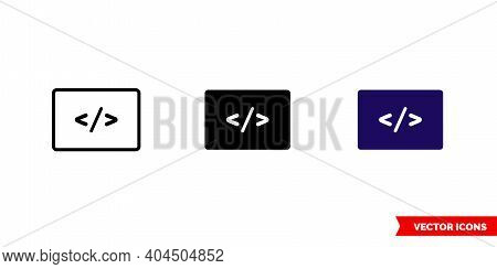 Programming Icon Of 3 Types Color, Black And White, Outline. Isolated Vector Sign Symbol.