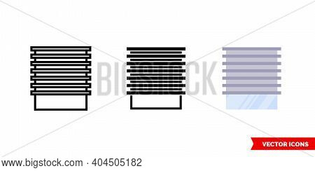 Shutter Closed Icon Of 3 Types Color, Black And White, Outline. Isolated Vector Sign Symbol.