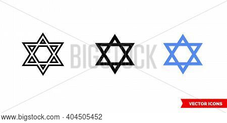 Star Of David Icon Of 3 Types Color, Black And White, Outline. Isolated Vector Sign Symbol.