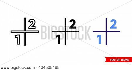 Sudoku Icon Of 3 Types Color, Black And White, Outline. Isolated Vector Sign Symbol.