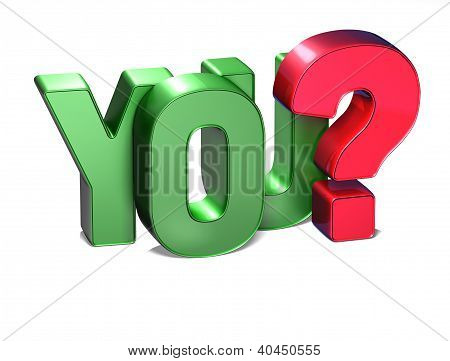 3D Word You On White Background