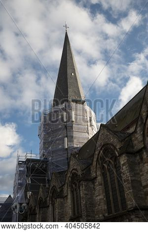 Kruibeke, Belgium December 26, 2020, The Tower Of Our Lady Church Is Being Restored