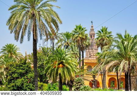 Seville Alcazar Gardens And Giralda Tower Of Seville Cathedral, Spain