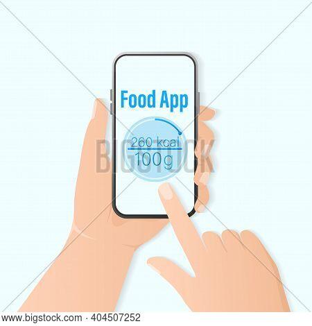 Illustration For Healthy Lifestyle Design. Flat Food App Count Callories For Healthy Lifestyle Desig