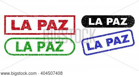 La Paz Grunge Watermarks. Flat Vector Scratched Watermarks With La Paz Tag Inside Different Rectangl