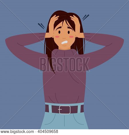 Flat Vector Illustration With A Woman's Mental Disorder. Vector Concept Of Mental Disorder. The Pani