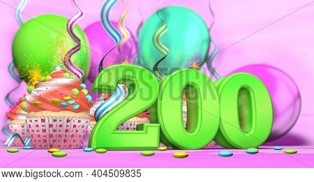 Birthday Cupcake With Sparking Candle With The Number 200 Large In Green With Cupcakes With Red Crea