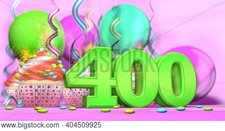 Birthday Cupcake With Sparking Candle With The Number 400 Large In Green With Cupcakes With Red Crea