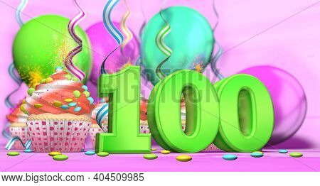 Birthday Cupcake With Sparking Candle With The Number 100 Large In Green With Cupcakes With Red Crea