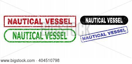 Nautical Vessel Grunge Seals. Flat Vector Textured Seals With Nautical Vessel Title Inside Different