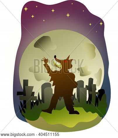 Night Of The Werewolf With Full Moon In The Cemetery