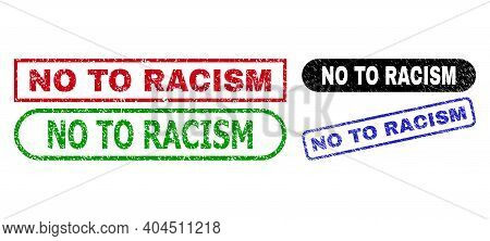 No To Racism Grunge Seal Stamps. Flat Vector Distress Seal Stamps With No To Racism Slogan Inside Di