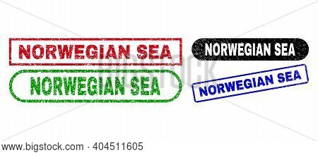 Norwegian Sea Grunge Stamps. Flat Vector Distress Stamps With Norwegian Sea Tag Inside Different Rec