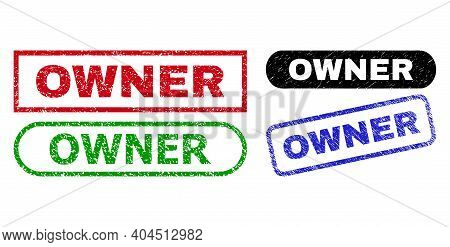 Owner Grunge Seal Stamps. Flat Vector Distress Seal Stamps With Owner Text Inside Different Rectangl