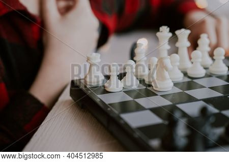 Chess Close Up. Favorite Hobby Is Chess. Learn To Play Chess. Development Of Analytical Thinking. Ch