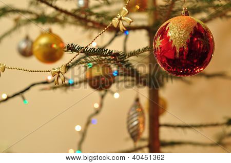 New Year Background, Christmas Tree Decorated With Toys And Sparkling Garlands