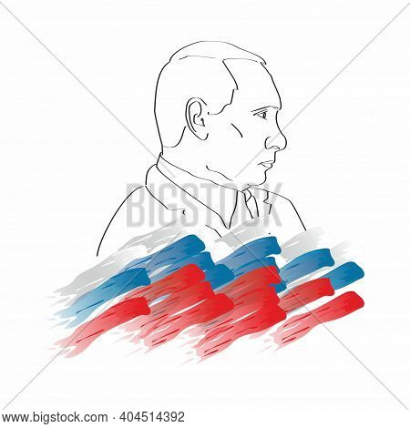 Graphic Linear Portrait Of Russian President Putin On The Background Of The Russian Flag. Popular Un