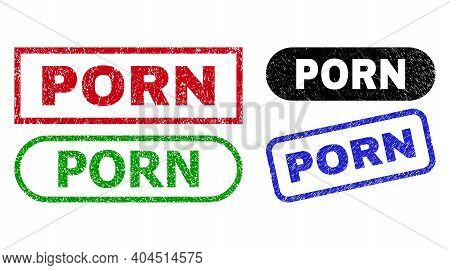 Porn Grunge Seal Stamps. Flat Vector Distress Seal Stamps With Porn Slogan Inside Different Rectangl