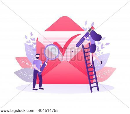 Envelope Approved Letter People. Business Illustration. Text Message. Corporate Document. Business C