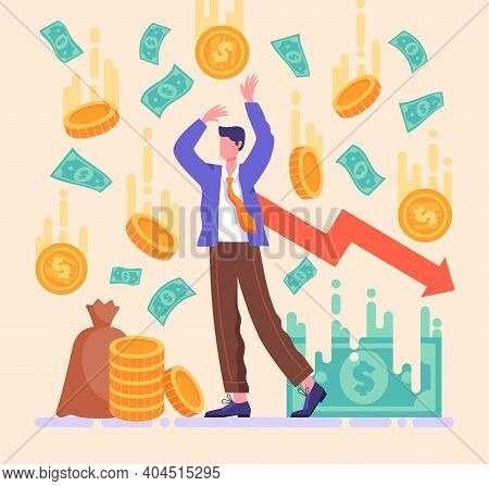 Losing Money Investments In Financial Crisis, Profit And Loss In Business Concept, Desperate Busines