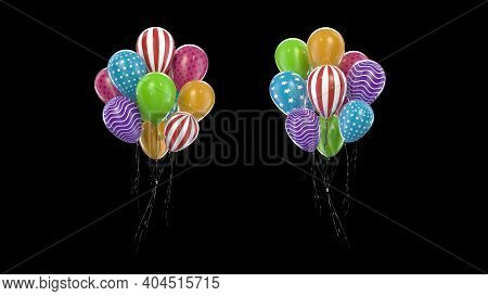 3d Render Bundle Multicolored Balloons On A Black Background