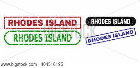 Rhodes Island Grunge Stamps. Flat Vector Scratched Seal Stamps With Rhodes Island Caption Inside Dif