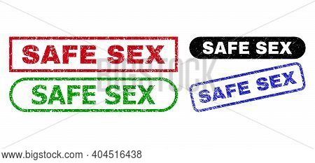 Safe Sex Grunge Watermarks. Flat Vector Grunge Watermarks With Safe Sex Phrase Inside Different Rect
