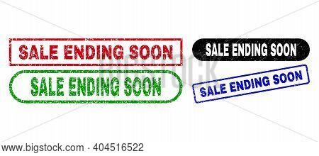 Sale Ending Soon Grunge Seal Stamps. Flat Vector Grunge Stamps With Sale Ending Soon Tag Inside Diff
