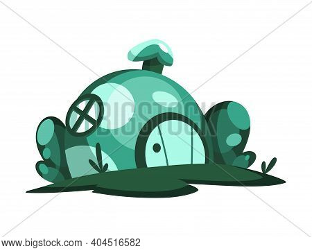 Fairytale House. Cartoon House In The Shape Of Mushroom. Abstract Building. Colorful Illustration Of
