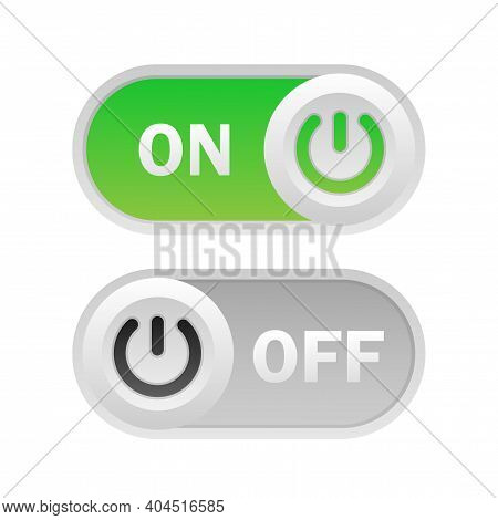 Toggle Switch. On And Off. On White Background. Vector Illustration.