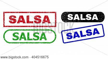 Salsa Grunge Watermarks. Flat Vector Distress Watermarks With Salsa Text Inside Different Rectangle