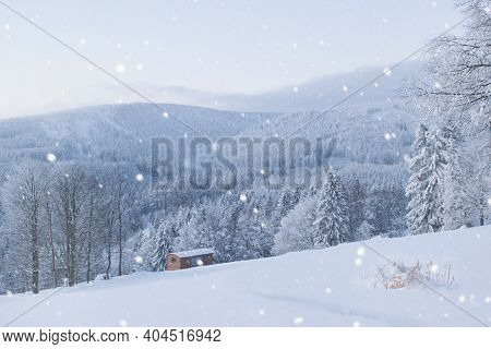 Beautiful Snowy Winter Landscape With Pine Forest And Woden Cabin, Carpathian Region