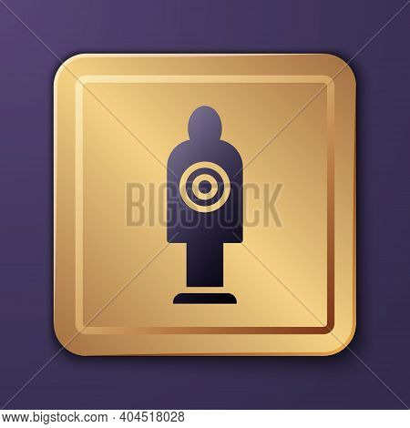 Purple Human Target Sport For Shooting Icon Isolated On Purple Background. Clean Target With Numbers