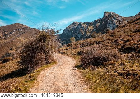 View Of Beautiful Mountain Landscape On A Sunny Day. Mountain Dirt Road In National Park Picos De Eu